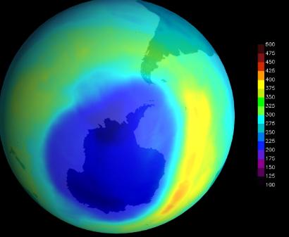 禁止消耗臭氧层的化学物质后 地球的臭氧空洞迅速缩小