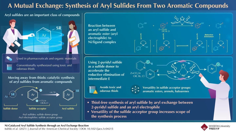 化学家开发出一种使用镍催化剂合成芳基硫化物的无硫醇技术